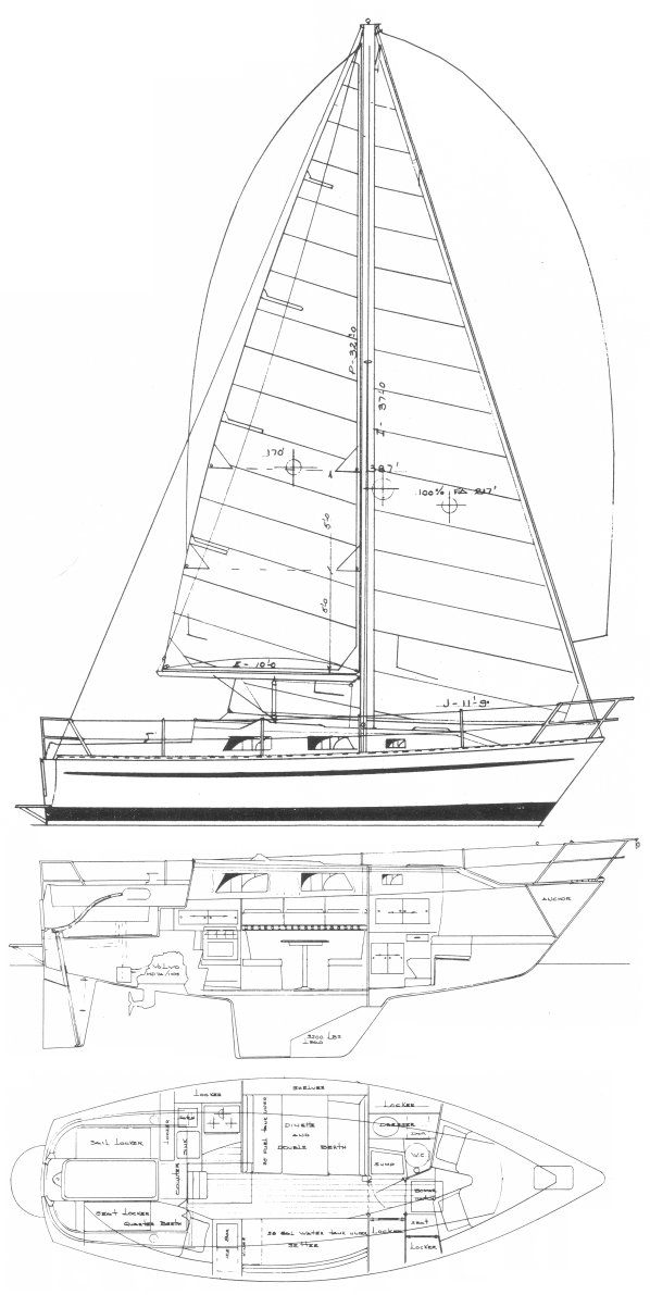 HTL 28 drawing on sailboatdata.com
