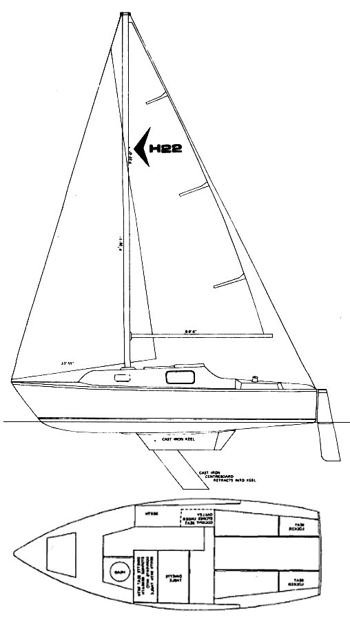 Hughes 22 drawing on sailboatdata.com