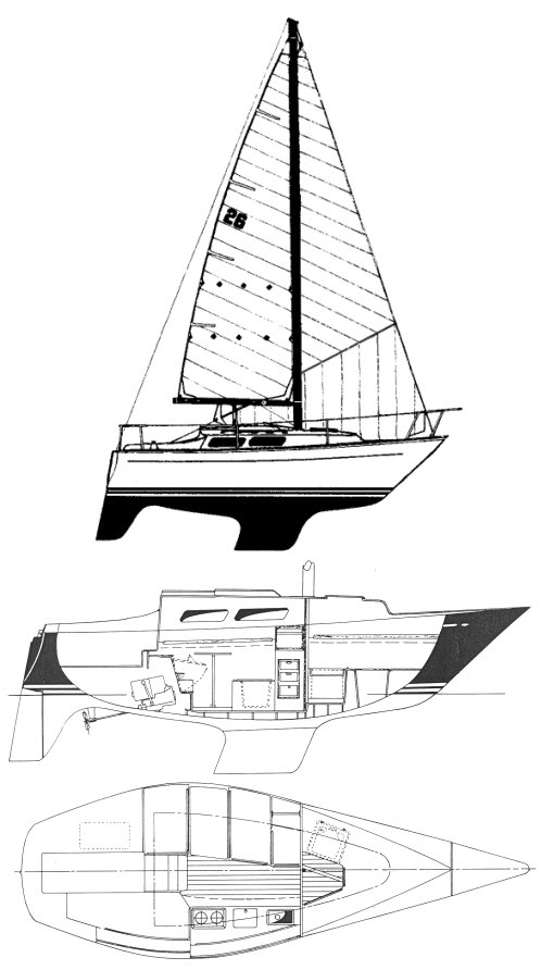 Hughes 26 drawing on sailboatdata.com