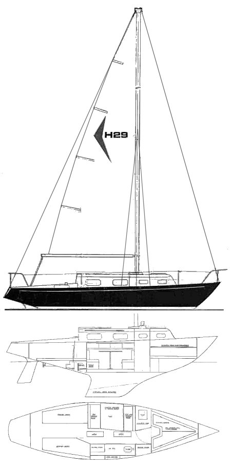 Hughes 29 drawing on sailboatdata.com