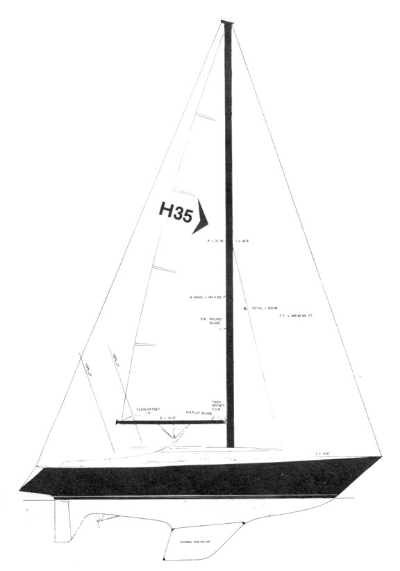 Hughes 35 drawing on sailboatdata.com