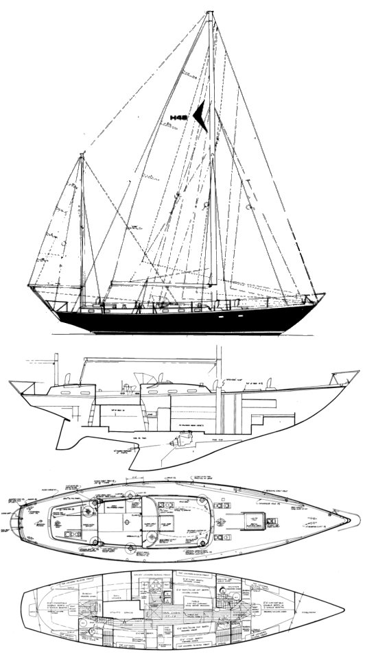 Hughes 48 drawing on sailboatdata.com
