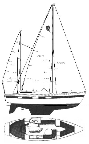 Hughes-Columbia 36 drawing on sailboatdata.com