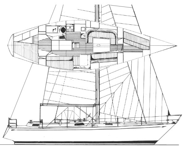Huisman 41 drawing on sailboatdata.com