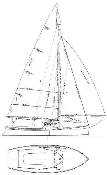 Hull Sea Bird 18 drawing on sailboatdata.com