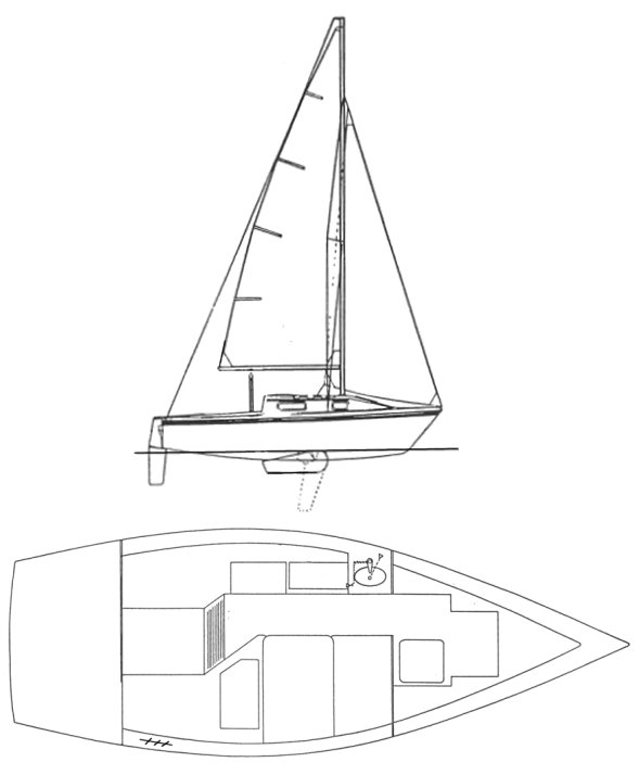 Hunter 20 drawing on sailboatdata.com