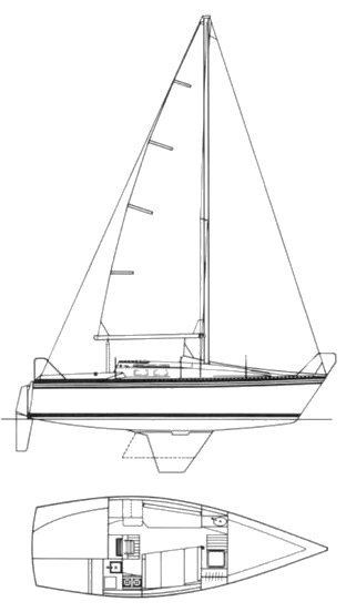 Hunter 25.5 drawing on sailboatdata.com