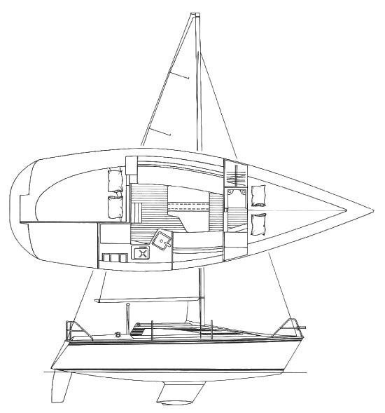 Hunter 26.5 drawing on sailboatdata.com