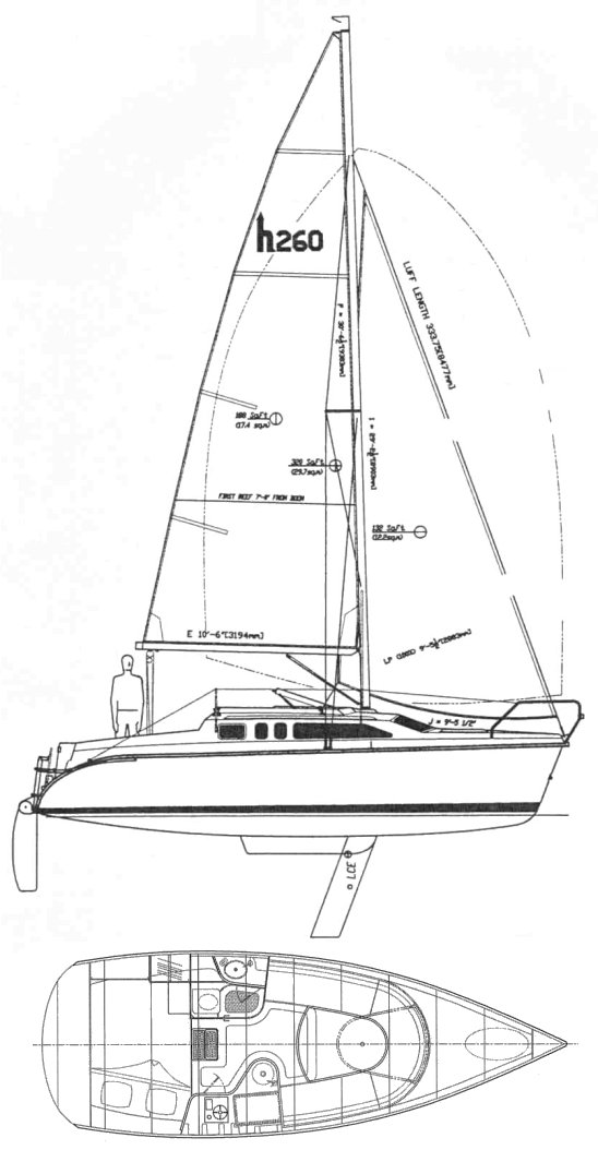 Hunter 260 drawing on sailboatdata.com