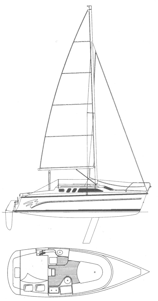 Hunter 26 drawing on sailboatdata.com