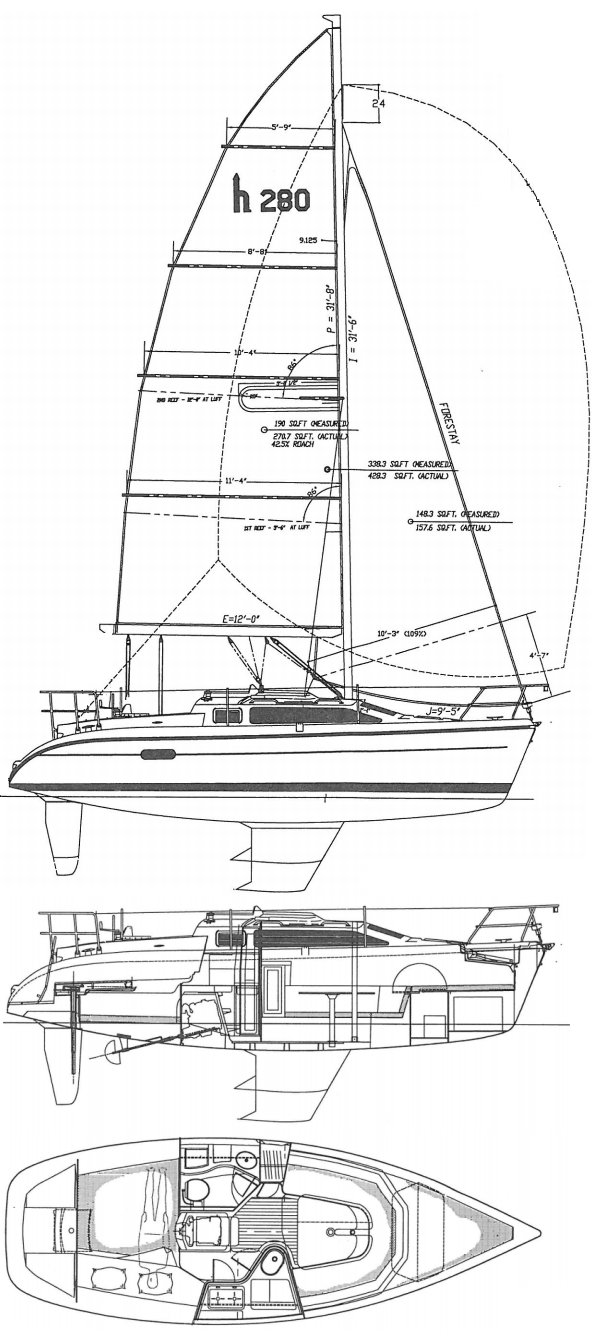 Hunter 280 drawing on sailboatdata.com