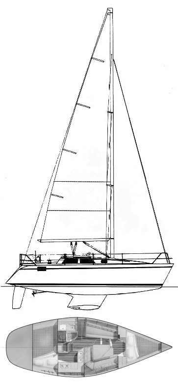 Hunter 30-2 drawing on sailboatdata.com