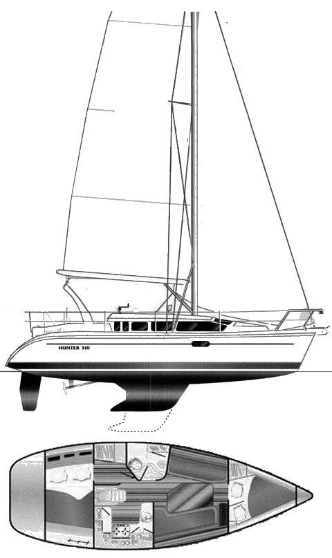 Hunter 310 drawing on sailboatdata.com