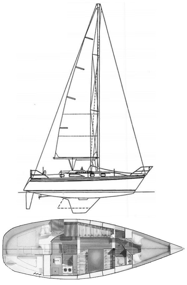 Hunter 31 drawing on sailboatdata.com