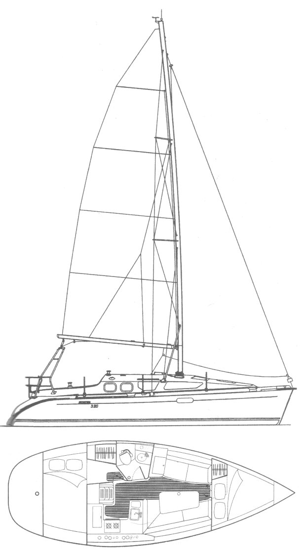 Hunter 320 drawing on sailboatdata.com
