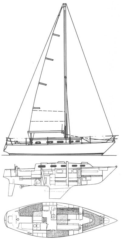 Hunter 33-1 drawing on sailboatdata.com
