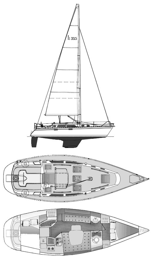 Hunter 33.5 drawing on sailboatdata.com