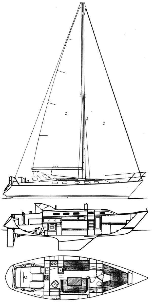 Hunter 36-1 drawing on sailboatdata.com