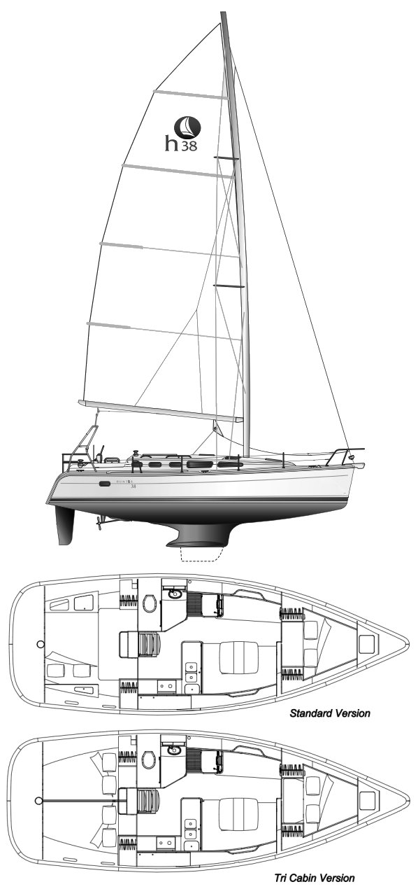 Hunter 38 drawing on sailboatdata.com