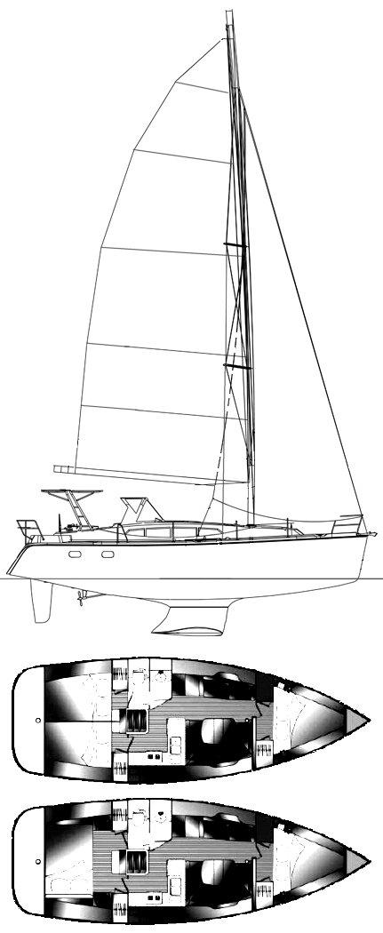 HUNTER 39 drawing