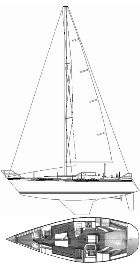 Hunter 40 drawing on sailboatdata.com