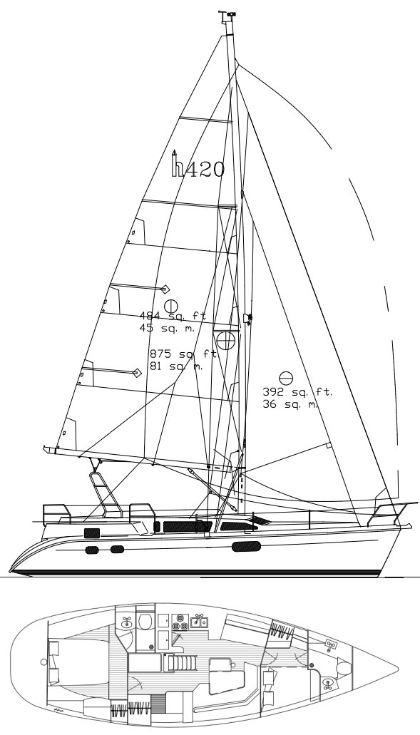Hunter 420 drawing on sailboatdata.com