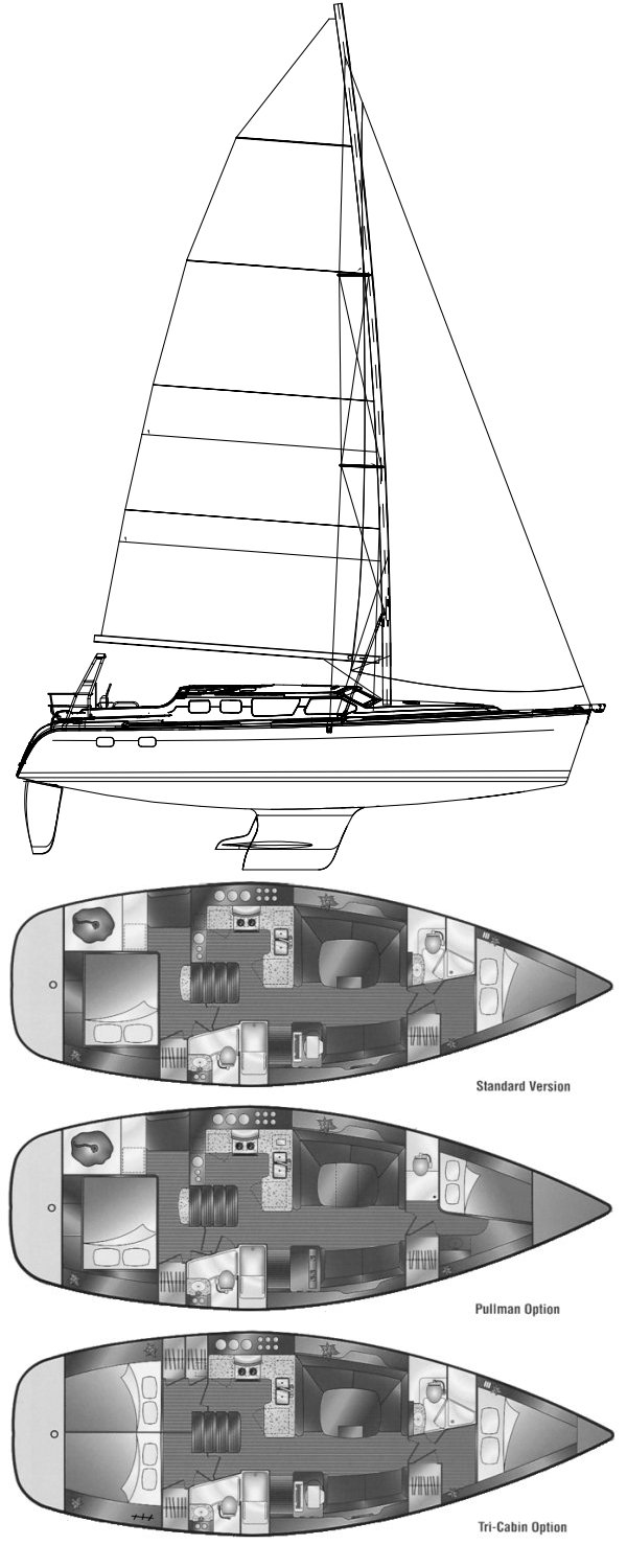 Hunter 426DS drawing on sailboatdata.com