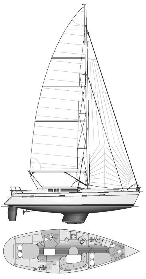 Hunter 430 drawing on sailboatdata.com