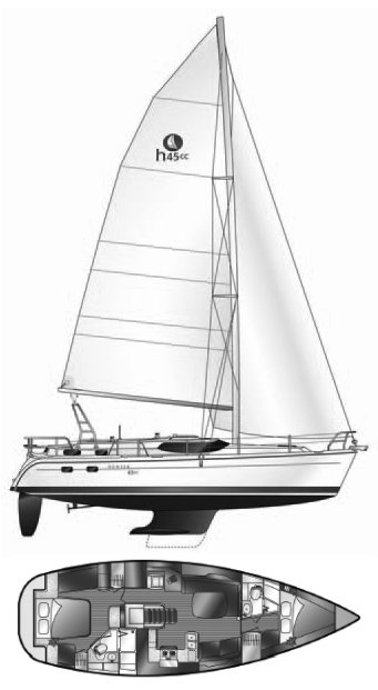 Hunter 45 CC drawing on sailboatdata.com