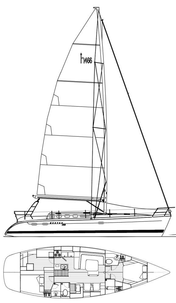 Hunter 466 drawing on sailboatdata.com