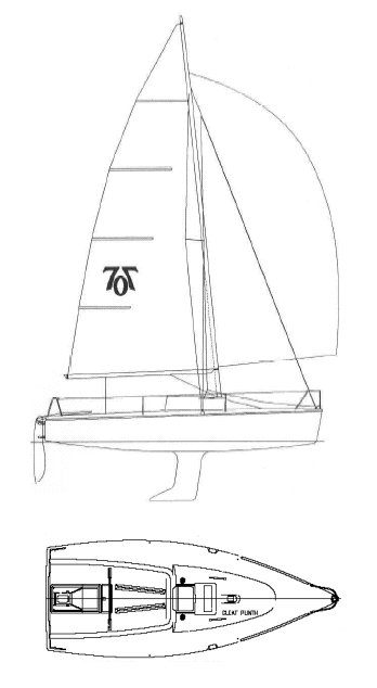 Hunter 707 drawing on sailboatdata.com