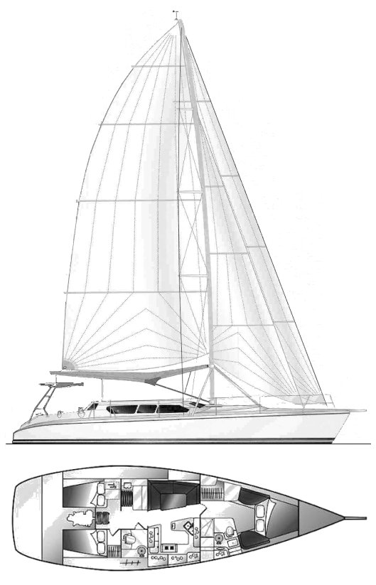 Hunter HC 50 drawing on sailboatdata.com