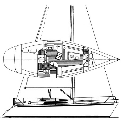 Hunter Legend 35.5 drawing on sailboatdata.com