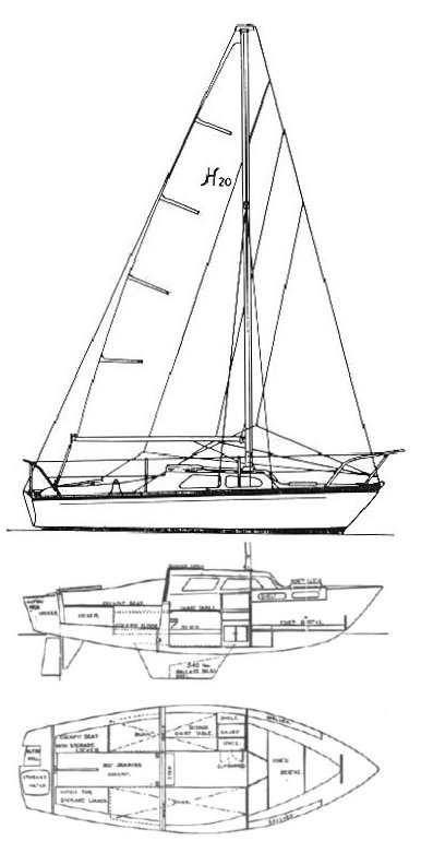 Hurley 20 drawing on sailboatdata.com