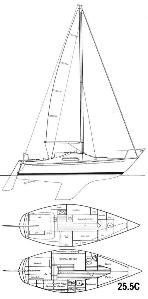 Hustler 25.5 drawing on sailboatdata.com