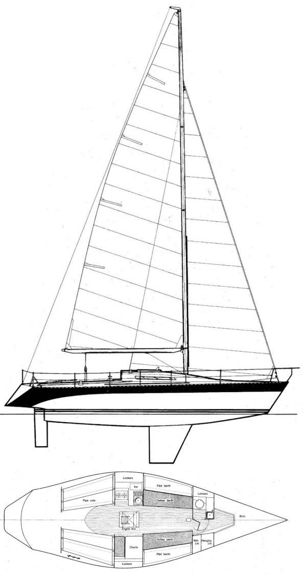 Hustler 36 drawing on sailboatdata.com
