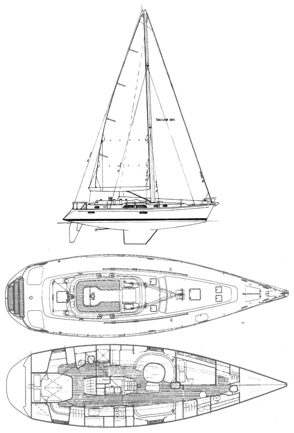 Hylas 46 drawing on sailboatdata.com