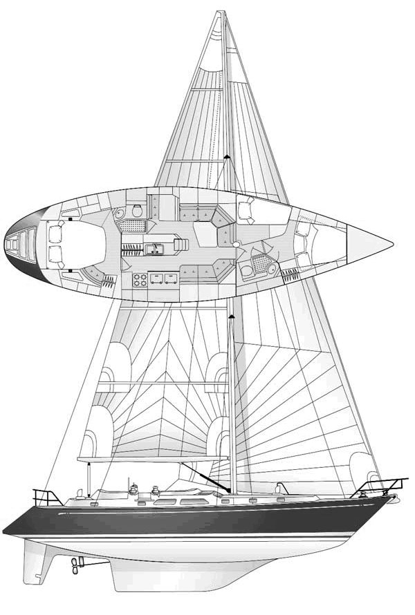Hylas 49 drawing on sailboatdata.com