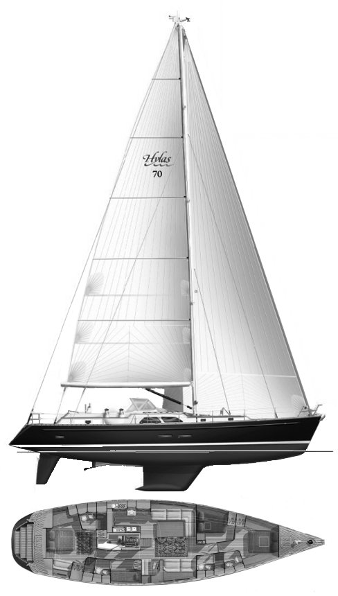 Hylas 70 drawing on sailboatdata.com