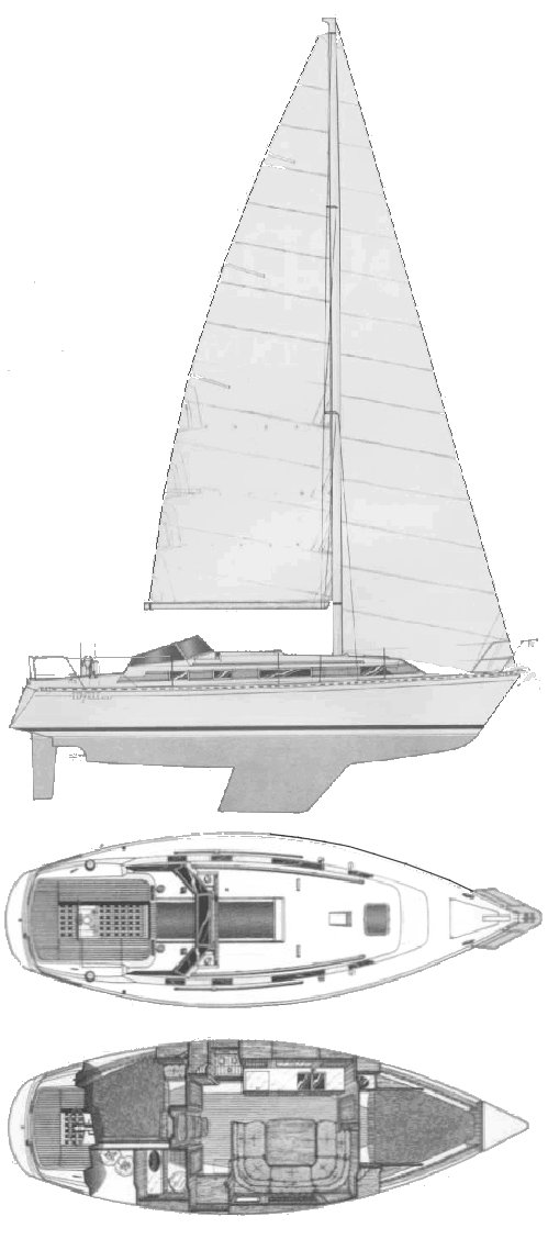 Idylle 10.50 (Beneteau) drawing on sailboatdata.com