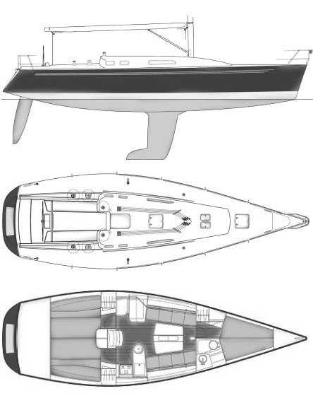IMX 40 drawing on sailboatdata.com