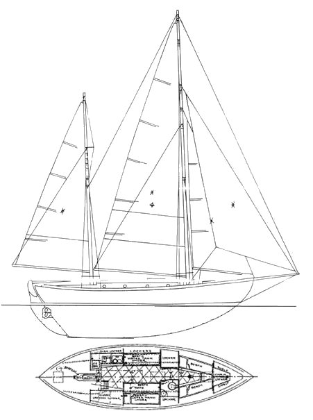 Ingrid 38 drawing on sailboatdata.com