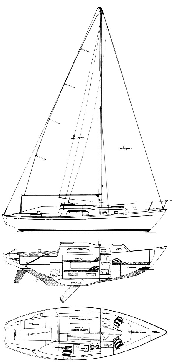 Irwin 27 drawing on sailboatdata.com