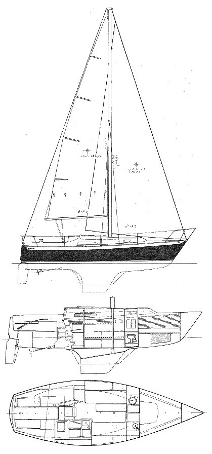 Irwin 30 drawing on sailboatdata.com