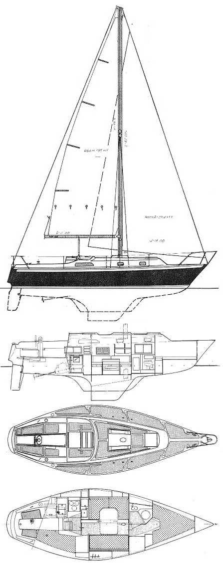 Irwin 33 MkII drawing on sailboatdata.com