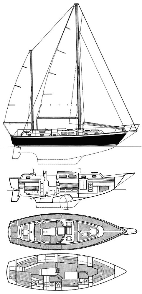 Irwin 37 MKIII drawing on sailboatdata.com