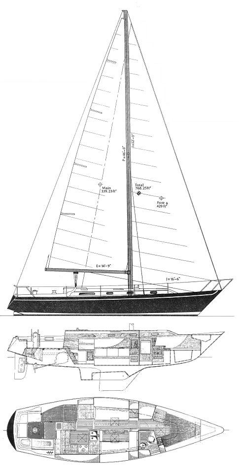 Irwin 39 Citation drawing on sailboatdata.com
