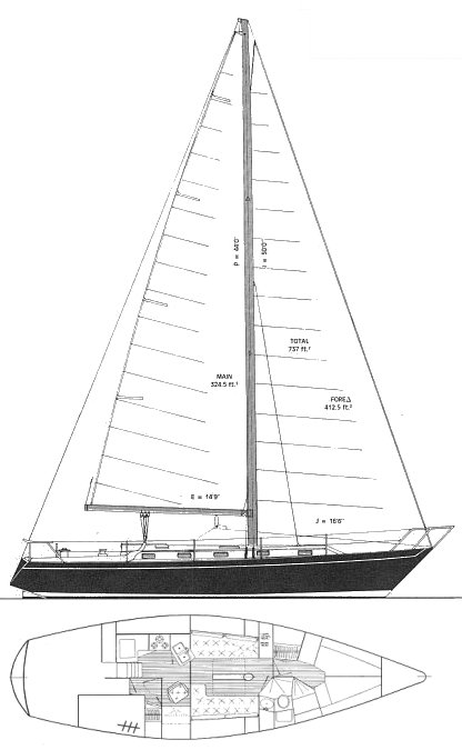 Irwin 40 MkII drawing on sailboatdata.com