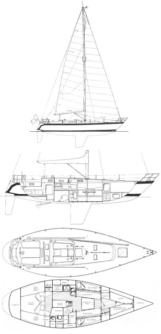 Irwin 41 Citation drawing on sailboatdata.com