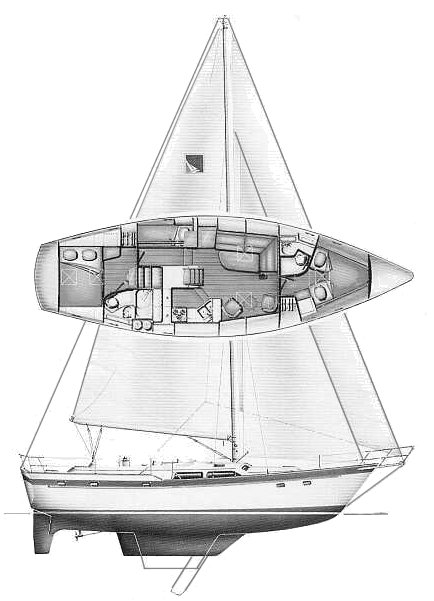 Irwin 43 CC MkI drawing on sailboatdata.com